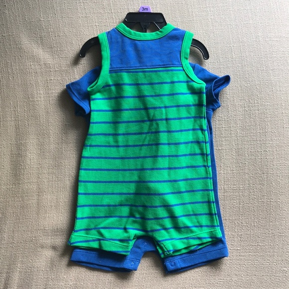 cac47581b77 Little Me Boys 2 pk rompers and hat - 3m - whales